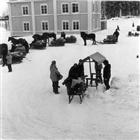VINTERBILD FILMINSPELNING SKÅDESPELARE FRILUFTSMUSEUM FRILUFTSMUSEUM HÄST